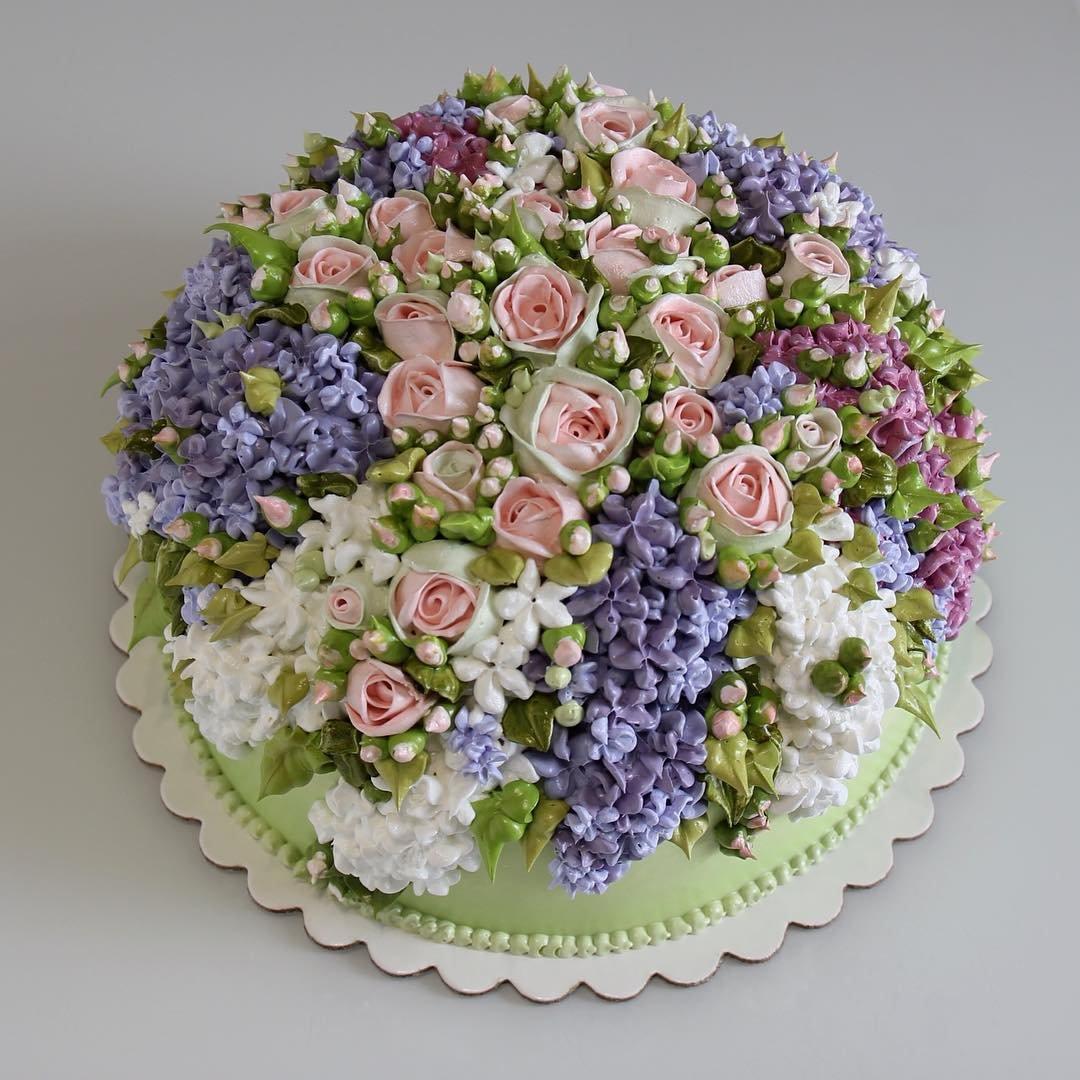Торт с полевыми цветами фото и